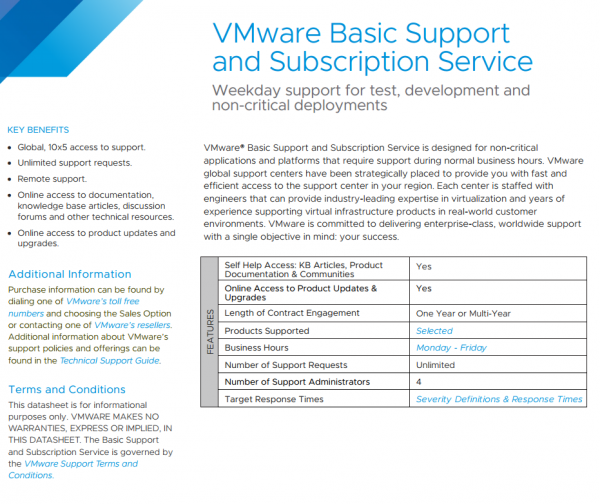 VMware Basic Support & Subscription Service