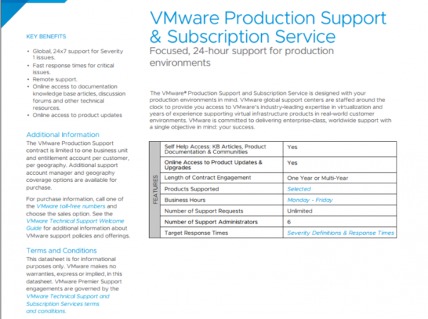 VMware Production Support & Subscription Service